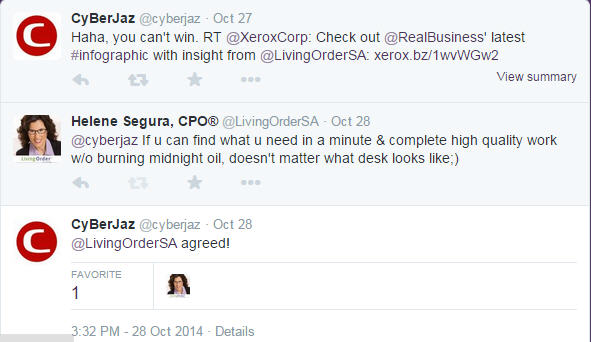 Twitter exchange abt Xerox - What does your workspace say about you